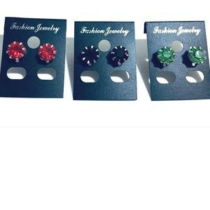 """3 Pairs of Fashion Jewelry Earrings 0.3in"""" (0.8cm)"""